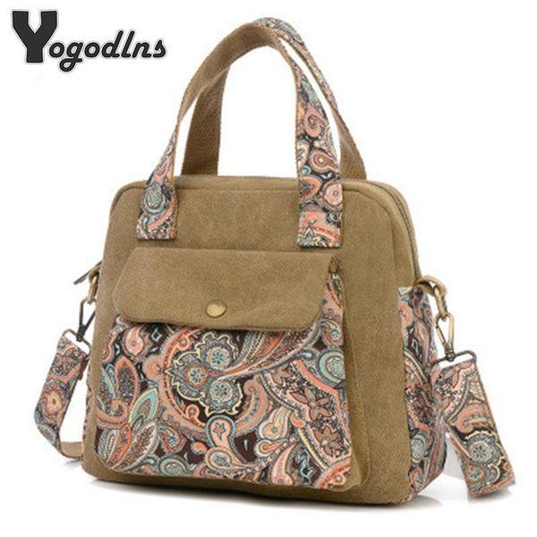 New Top Quality Vintage Women Handbag Ethnic Style Print Flower Canvas Large Tote Fashion Shoulder Bag Women Messenger Bag J190715