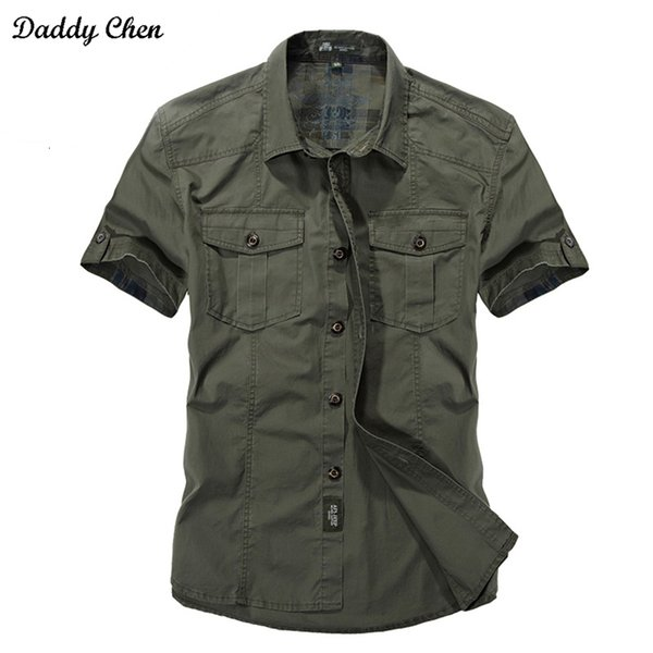 Jeep solido camice di colore cotone Mens manica corta Turn-down Collar Army Green Khaki uomini magliette casual camicia XXXLMX190829 Maschio Camisas