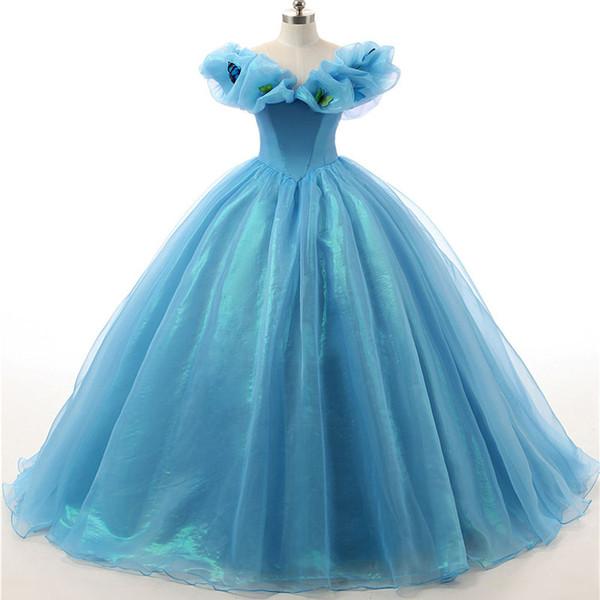 Cinderella Ballkleid Quinceanera Dresses Günstige Lange Schulterfrei mit kurzen Ärmeln Organza Korsett Zurück Prom Formale Pageant Kleid