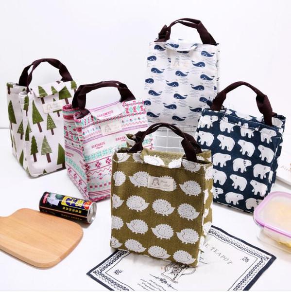 adorabili sacchi di cotone per animali da viaggio borse da viaggio portatile picnic sacchi per alimenti contenitori termici isolati pranzo sacchetti contenitore di stoccaggio a casa