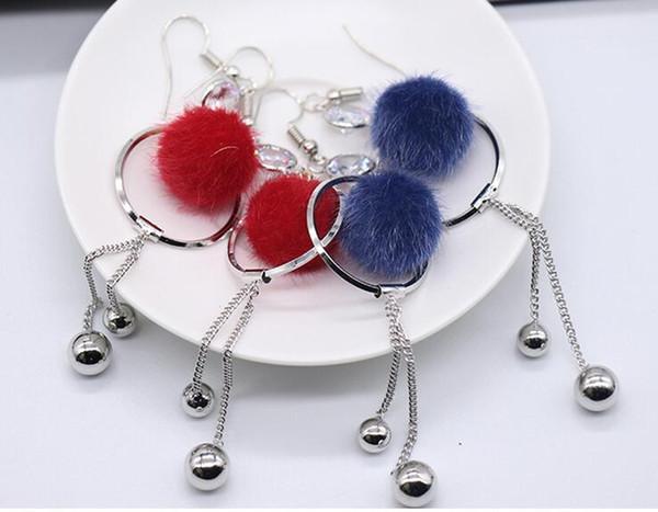 Boucle d'oreille pompon boule de laine de style nouveau style pour femme