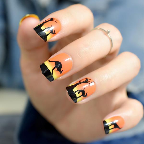 Orange Sunset View Schwarz French False Nails Tips Känguru Animal Print Voller künstlicher künstlicher Nagel für Office Daily Faux Ongles