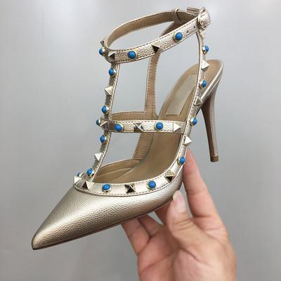 Orijinal kutusu Marka Kadınlar Düğün Ayakkabı Pompaları Kadın arkası açık iskarpin Yüksek Topuklu sandalet Çıplak Moda Ayak Bileği Sapanlar Perçinler Ayakkabı Seksi Yüksek topuklu