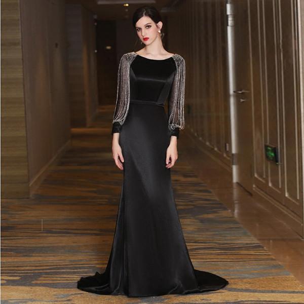 Vestidos largos y negros largos para la madre de la novia Sirena Mangas largas Con cuentas Satén Vestido de noche Tren de barrido Lange