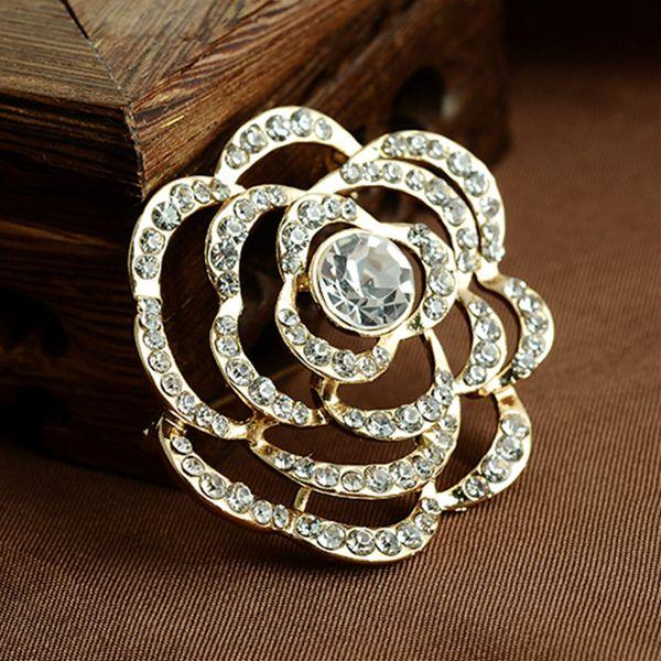 Elegant Crystal Rhinestones Flower Brooch Pins For Women Rose Brooches Jewelry Fashion Wedding Party Bijoux Broche Femme Gift 10pcs/lot