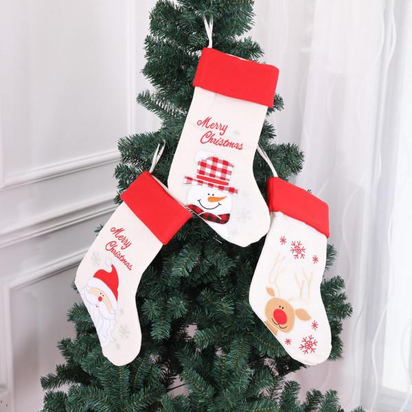 Decoración de Navidad Tire franela caramelo Calcetines Bolsa de felpa árbol de navidad que cuelgan grandes calcetines del caramelo del regalo la decoración del bolso