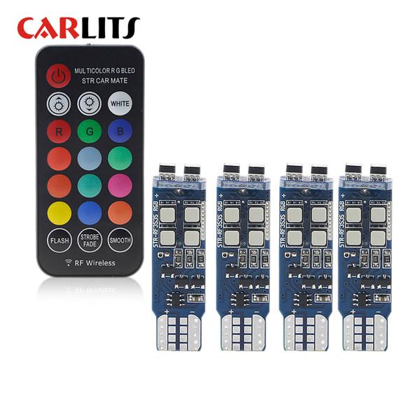 CARLITS Т10 оформление лампы 194 W5W и габаритные огни изменить цвет светлое дистанционное интерьер автомобиля лампа T10 RGB с гениальным Сид света автомобиля