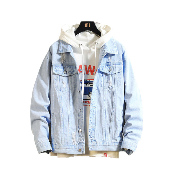 2019 Hombres chaqueta de mezclilla hombres Casual Chaquetas de bombardero hombres alta calidad hombre Vintage Jean chaqueta de abrigo Streetwear Chaqueta Hombre 3XL