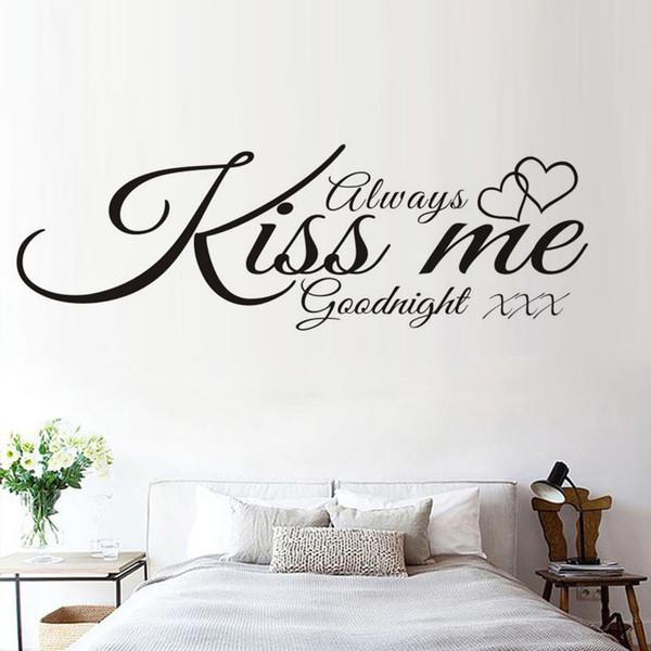 Compre Dupla Corações Amante Adesivo De Parede Sempre Me Beijar Boa Noite Frase Simples Decalques De Vinil Quarto Arte Da Parede Decoração De
