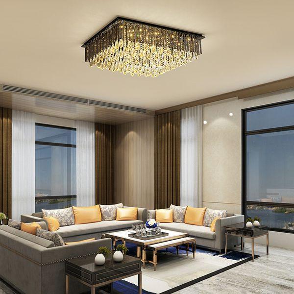 Modernas lámparas de techo del rectángulo cristal enciende a ras de montaje de iluminación lámpara de lujo humo llevado lámparas de techo para el dormitorio sala de estar