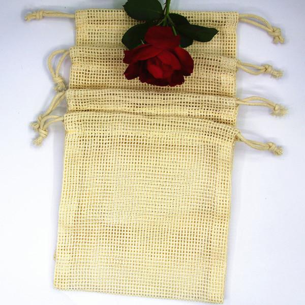 Многоразовые сумки Органический хлопок моющийся Mesh Сумки для покупок продуктов питания Фрукты Овощной Органайзер для хранения сумка NO311