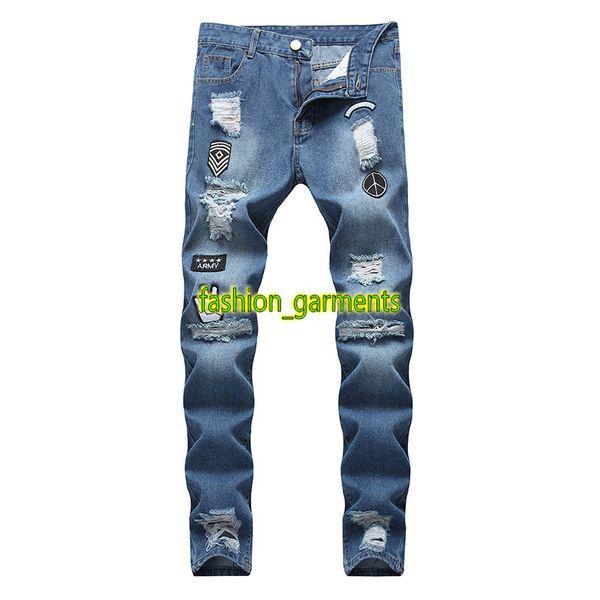 Pantaloni del progettista della moda dei jeans di Hip Hop degli uomini Pantaloni del progettista degli uomini del foro della chiusura lampo di auto-coltivazione di alta qualità dei pantaloni della gamba stretta