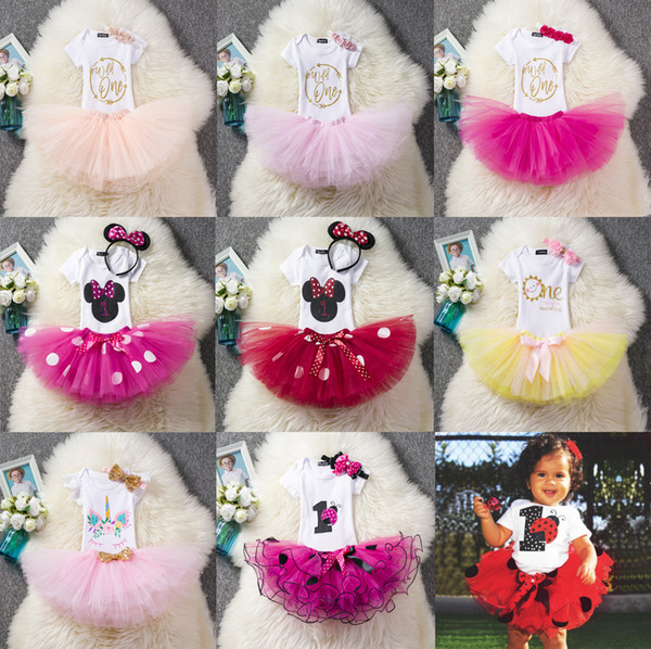 Ins Baby Mädchen Wild One 1st Birthday Outfits Kleidung Set Sommer Onesies Kurzarm + Tutu Rock + Stirnband 3pcs / set Rosa Rose 2019 Hotsale