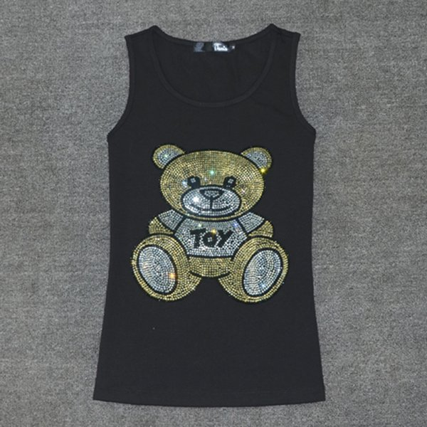 Hot Sale Summer Sleeveless T Shirt Women Ladies Multicolor Crystal Bear T-shirt Vest Love Tank Tops Women's Cotton Tops Tees Y19042801