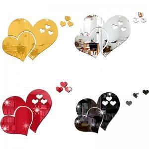 3D Heart-Shaped Mirror Wall Sticker Removable Living Room DIY Art Decal Decor Modern Room Wedding Decoration LJJW114