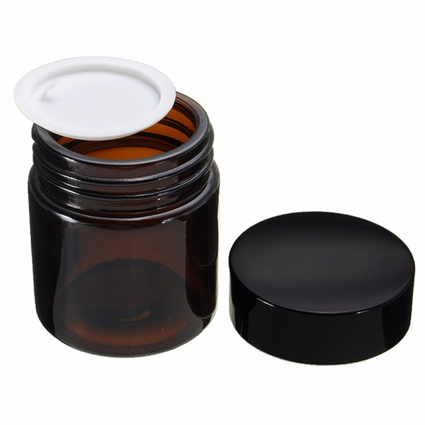 30pcs Brown Round Empty Amber Glass Jar Makeup Pot 120ml Cream Jars Cosmetic Packaging Container Cosmetic Glass Jar With Lid