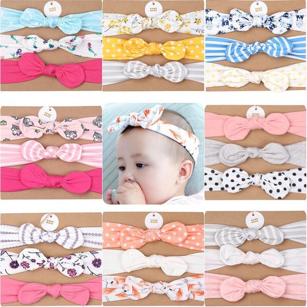 Designer Baby girl Headband Mermaid Polka Dot hair accessories Knot Bows Bunny band Birthday gift Flowers Geometric Print 3pcs/card Boutique