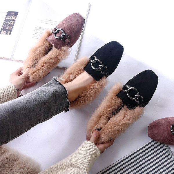 Fall and Winter 2019 New Korean version rabbit hair flat sole flipflop shoes with velvet cotton ladle shoes wool shoes womens large size sho