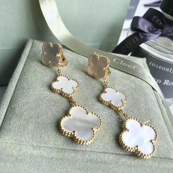 S925 argento puro 3 pz fiore collana forma ciondola l'orecchino con la natura bianca shell 18 k placcato oro reale per le donne e la ragazza amico gioielli gi