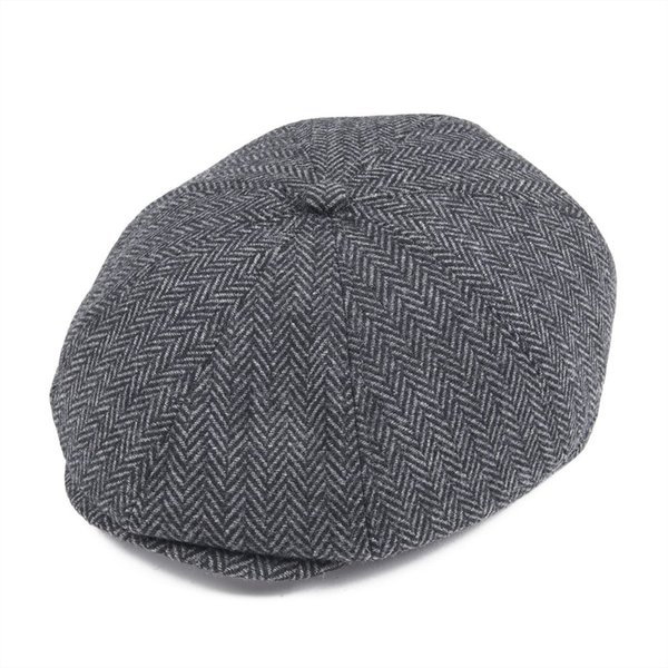 Großhandel schwarz Wolle Tweed Zeitungsjunge Mütze Männer Frauen flache Ivy Caps Herringbone Cabbie Hut 8 Panel Barett Baker Boy Boina Winter Hüte 111