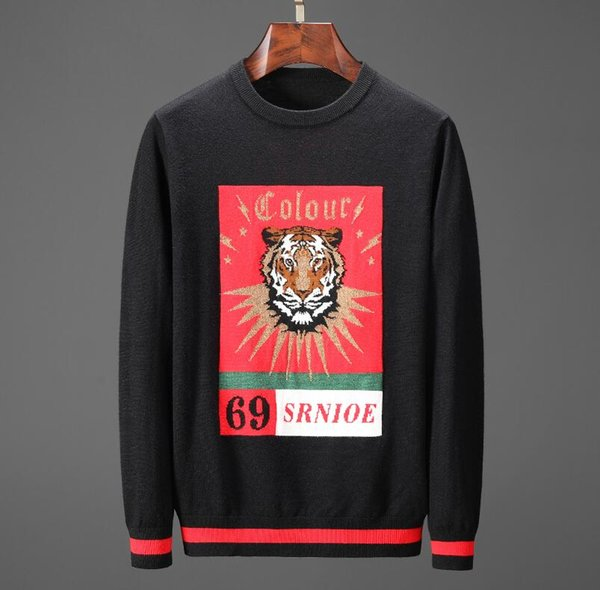 Black pullover tiger lion printed mens brand cardigan sweater casual cashmere sweater winter men 2019 brand couple sweater mens coat D30