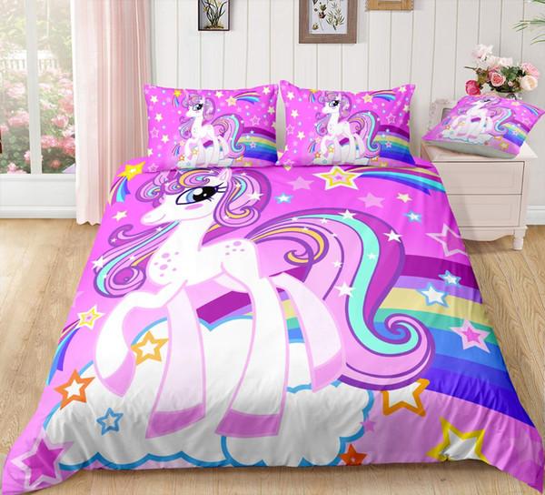 BOMCOM 3D Digital Printing Bedding Set Purple Unicorn on rainbow Shooting Star 3-Piece Duvet Cover Sets 100% Microfiber