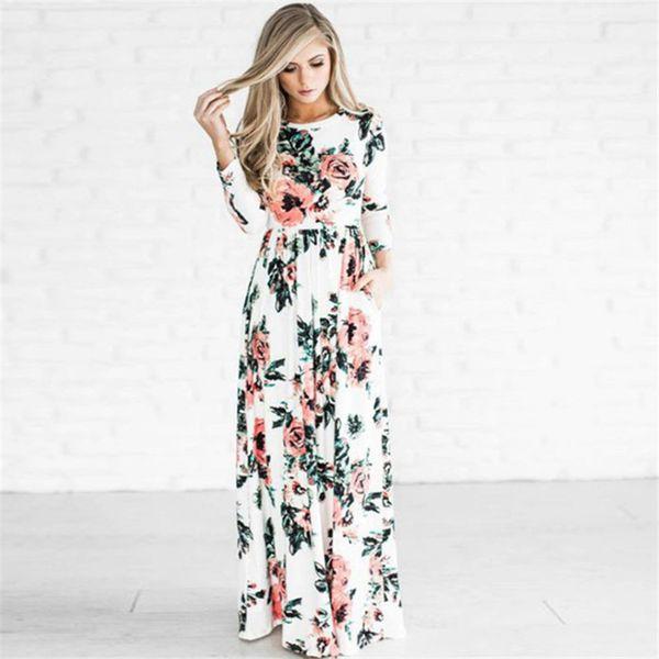 S-3xl Women Floral Print long Dress Boho Maxi Dresses Girls Lady Evening Party Gown Spring Summer flower beach dress Clothes 2019 C3211