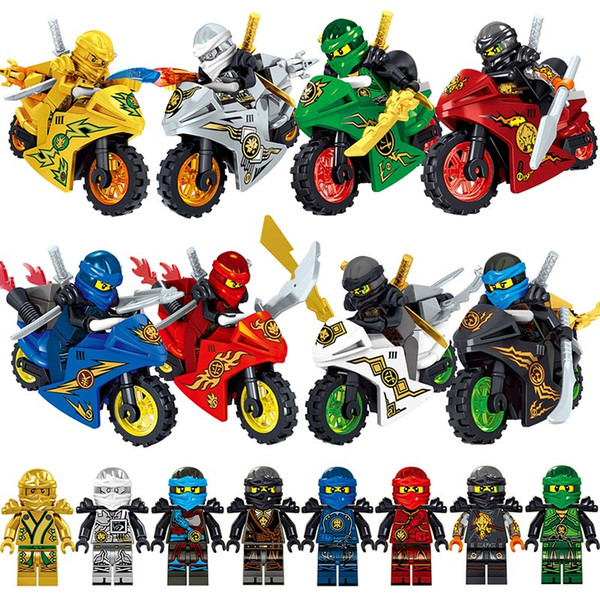 best selling 8pcs Ninja with Motorcycle Kai Jay Zane Cole Lloyd Gold Ninja Weapon Sword Mini Toy Action Figure Building Block Brick Toy Compatible with