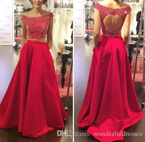 Red Two Piece Prom Dress Heavy Beaded Sparkly Long Fitted Formal Evening Gown Open Back WP253