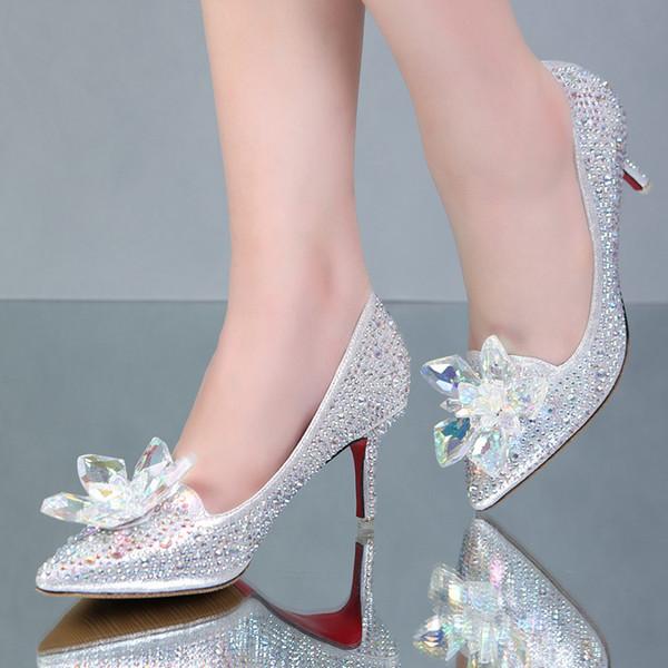 Large size 35-43 rhinestone designer bridal wedding dress shoes fashion flowers stiletto red bottom high heels pumps
