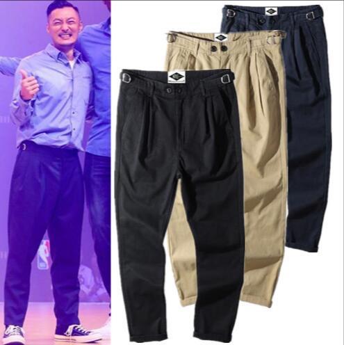2019 sıcak erkek Trendy Rahat Düz Cep Pantolon Hip Hop Tulum Moda pantolon Saf renk genç Dokuz pantolon 3 renkler M-2XL
