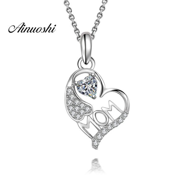 AINUOSHI 925 Sterling Silver Pendant Necklace for Women Original Mom Letter Heart Long Chain Necklace Pendant Wedding Lover Gift