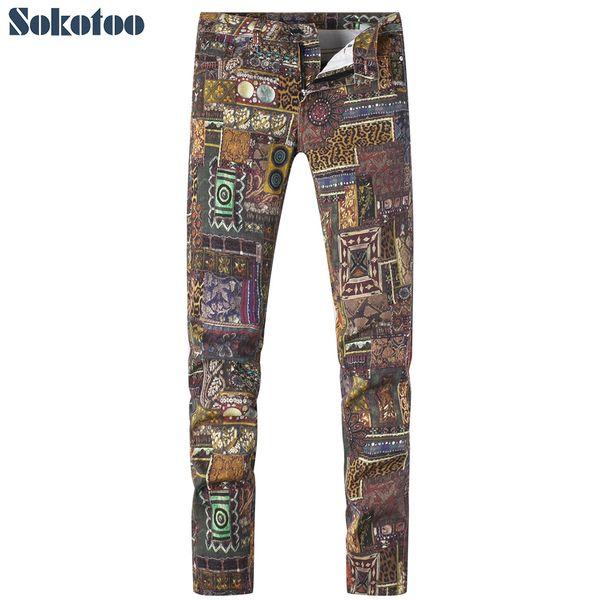 Sokotoo Men's fashion pattern trendy print jeans Colored drawing slim stretch denim pants