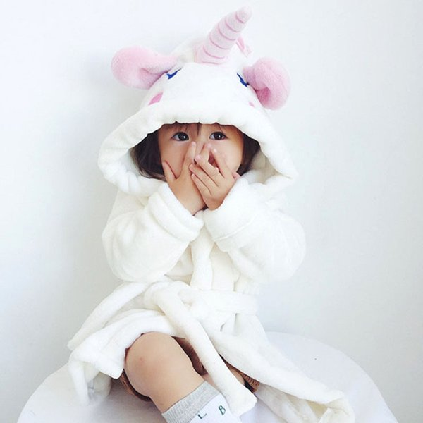 Cute Kids bathrobe Pajamas Lovely Cartoon Unicorn Style Sleepwear For 70-140cm Children Boys Girls Pajamas Night Clothes