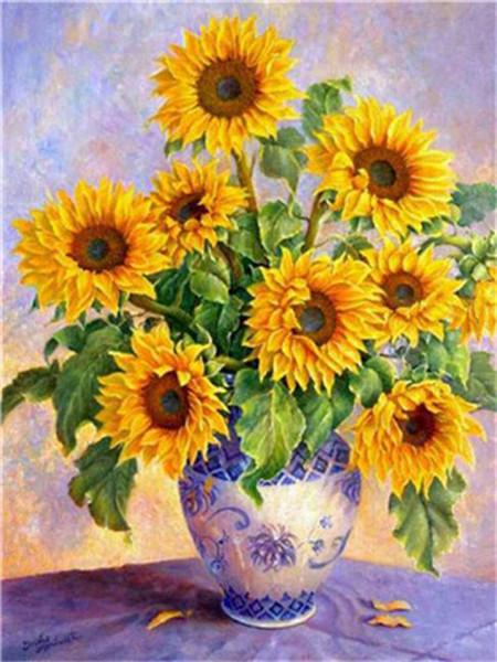 Peinture acrylique DIY par numéros Kit sur toile pour les adultes débutants printemps Tournesols Blooming dans un vase blanc sur la table 16x20 pouces