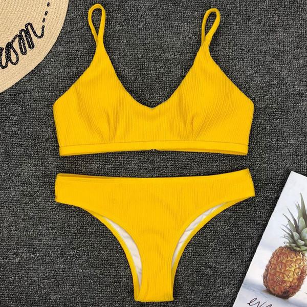 Ребристый бикини 2019 желтый купальник женские стринги купальники из двух частей комплект бикини Push Up Biquini женские сексуальные высокие купальники Y19072701