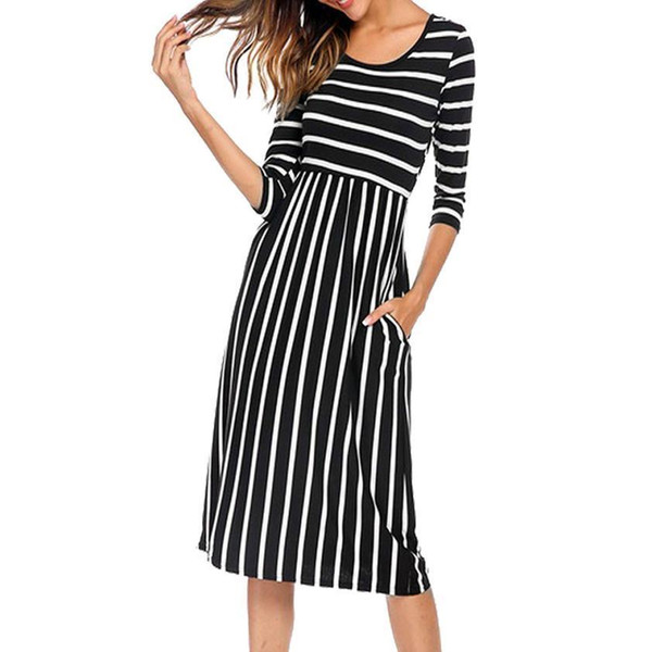 Party Dress Elegant Women Dress Summer 2018 Three Quarter Striped Elastic Waist Pocket Casual Dress Vestidos Mujer