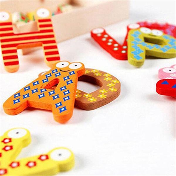 New 26 Alphabet Magnetic Letters A-Z Cartoon Wooden Fridge Magnet For Kids Message Holder Home Decor Baby Kid Education Toys C18122201