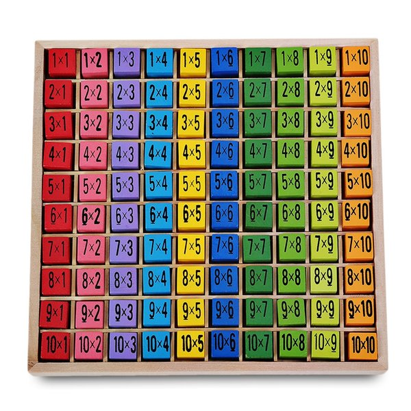 Math Learning Montessori Ulysse Multiplication Board Toys Table Educational Toy 10 X 10 Natural Wood Material Figure Blocks VB