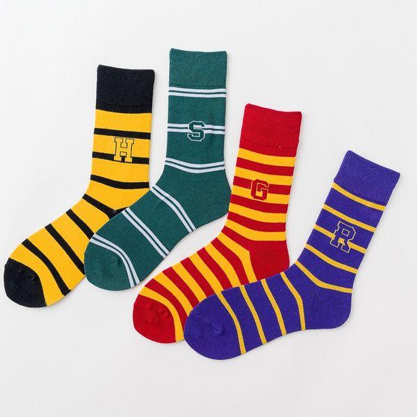 Harry Potter Socken Baseball Socken Hogwarts Magic School Long Tube Striped Wort Abzeichen Socke Gryffindor Slytherin Ravenclaw Colorfull HHA371