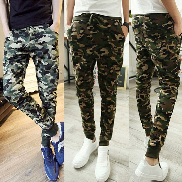 Homens calças calças casuais Pants Magro Taper lápis Long Green Army Men Camo Pants