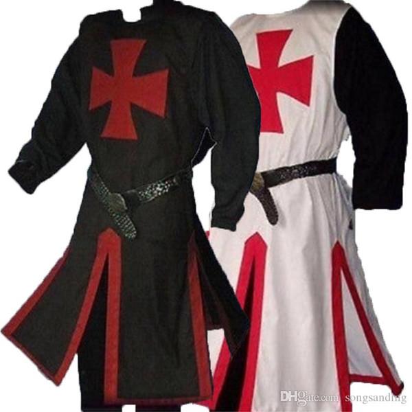 Medieval guerreiros Cavaleiro Templário Crusader traje para Homens Vestido camisa Top Cruz Tabard surcoat Túnica Roupa Belted Plus Size AU8689