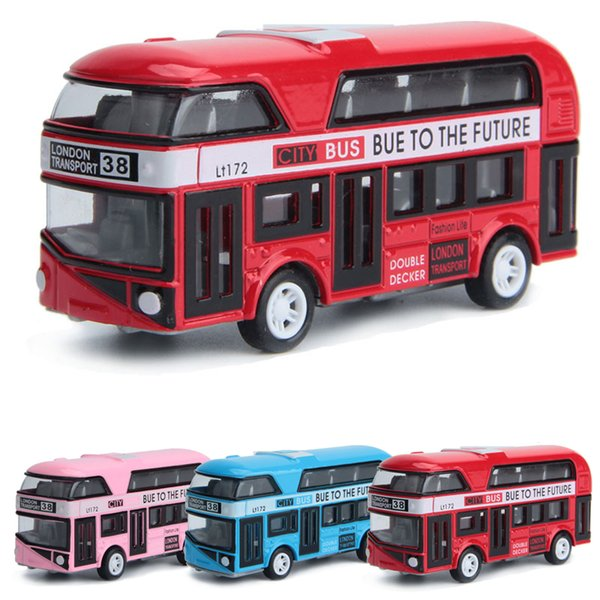 Cheap Diecasts & Toy Vehicles 3 colors Pullback Alloy double deck bus car toys model Toys for children London city School bus