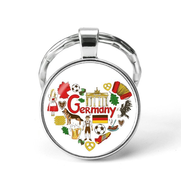 Style17 Quotes Jewelry Ethnic Style Keychain Russia USA France Italy Finland Indianationality Keyring Glass Cabochon Keyring Keychain