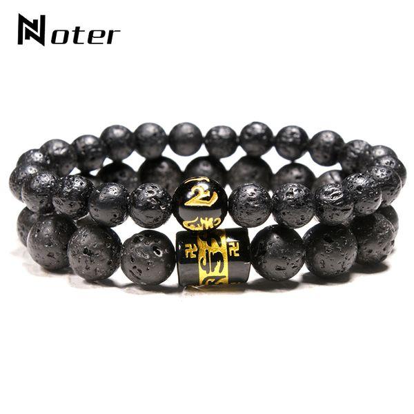 Noter 2 pezzi braccialetto di pietra lavica naturale da uomo 8mm 10mm brazalete con perline vulcaniche per Hombre sei parole Buddha Braclet Camping Joyas