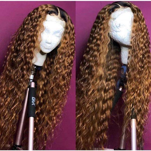 Ombre completa encaracolado peruca loira cor de tom dois 1b # 30 # brasileira completa Lace frente Humanos perucas de cabelo Kinky Curly Com cabelo do bebê