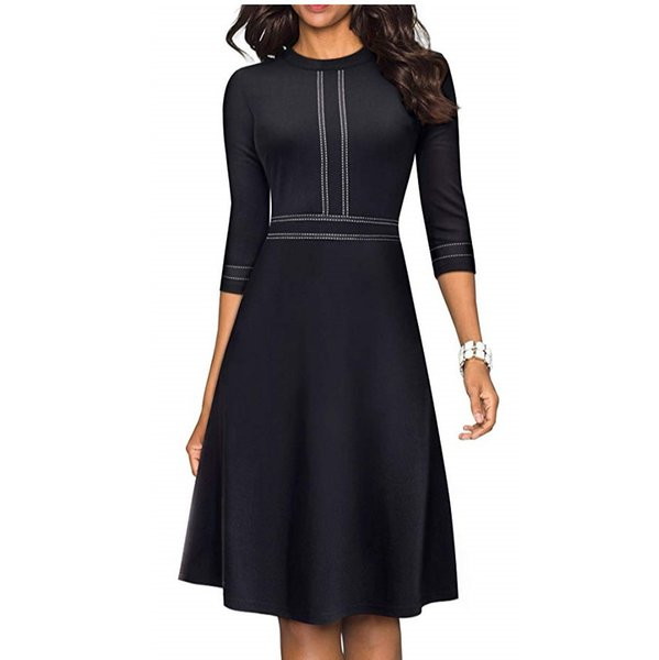 women's chic crew neck 3/4 sleeve party homecoming aline dress vestido 2020
