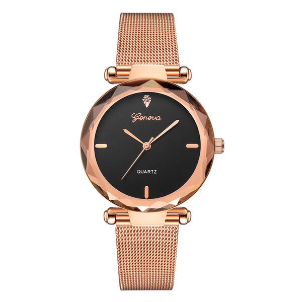Top Style Mode Damen Luxus-Leder-Band Analog-Quarz-Armbanduhr-Dame-Uhr-Frauen-Kleid Reloj Mujer Schwarz Uhren 50