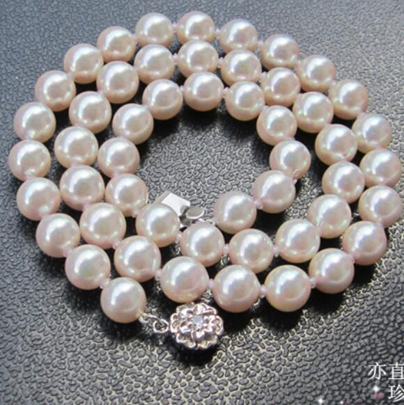 925 silver real natural big Beihai Nanzhu 9-9.5mm natural seawater pearl necklace light genuine pearl necklace