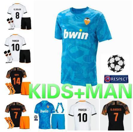 19 20 VALENCIA embroma los jerseys Parejo 2019 niños kit de la camisa del Valencia CF Fútbol RODRIGO MINA Jersey GAYA GAMEIRO la camisa del fútbol muchachos niño